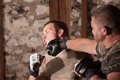 Two Mixed Martial Artists Sparring Stock Photography