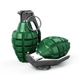 Two mk-2 hand grenade. On white - 3d render Stock Photography