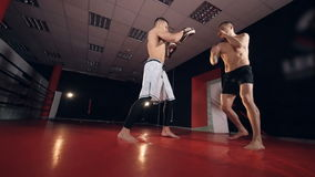 Two mma fighters exercising in boxing gym. Slow motion. stock video