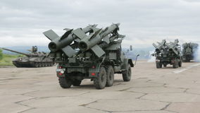 Two mobile antiaircraft missile complexes. Trackong shot
