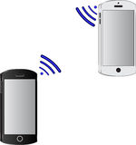 Two mobile phone connected wirelessly. royalty free illustration
