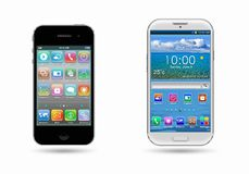 Two mobile phone on a white Royalty Free Stock Photography