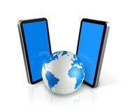 Two mobile phones around a world globe Stock Photography