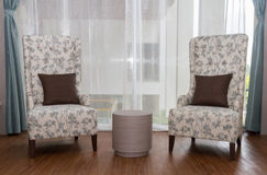 Two modeern chairs in livingroom. Royalty Free Stock Photography