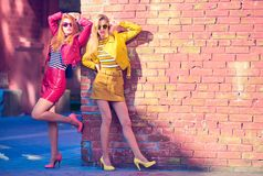 Outdoor Fashion. Girl in Autumn Outfit. Lifestyle. Two Model Woman posing near pink Brick Art Wall. Outdoor Lifestyle. Young Girl in Stylish Sunglasses, Trendy stock photography