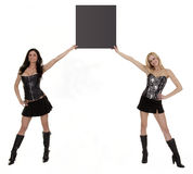 Two Models Holding Blank Signboard Stock Photos