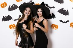 Two models are posing in black sexy dresses and witch hats. They hold glasses of wine in their hands Stock Photo