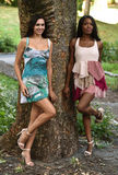 Two models posing in short summer dresses. Two models posing in short summer dresses in the park royalty free stock image