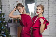 Two models in red party dress near new year tree Royalty Free Stock Photography