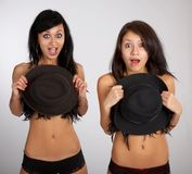 Two models shout Stock Image