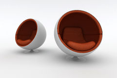 Two modern armchairs. Modern armchairs isolated on the white. High resolution 3D image Royalty Free Stock Images
