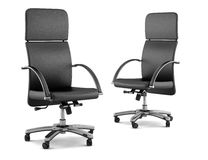 Two modern black office chairs on white Stock Image