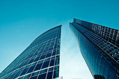 Two modern buildings. Blue tones Royalty Free Stock Images
