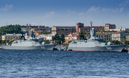 Two modern Corvettes of the Russian Navy Royalty Free Stock Images