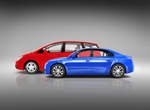 Two Modern 3D Cars with Different Style Royalty Free Stock Photos