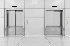 Two Modern Elevator or Lift with Metal Doors in Office Building. Two Modern Elevator or Lift with Metal Doors in Office Building extreme closeup. 3d Rendering Stock Images