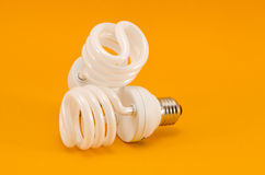 Two modern energy saving bulbs Stock Photo