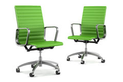 Two modern green office chairs on white Stock Photo