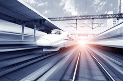 Two modern high speed train. With motion blur Royalty Free Stock Photography