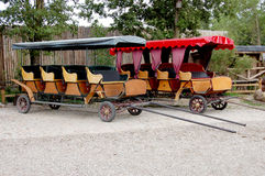 Two modern horseless carriages stock photo