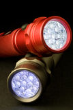 Two Modern LED Flashlights Stock Images