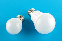 Two modern LED light bulbs incandescent bulb replacement Stock Photo