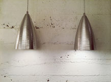 Two modern metal lamps Stock Images