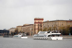 Two modern Radisson cruise ships at Navigation season opening in Moscow Stock Photography