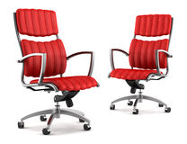 Two Modern Red Office Chairs Isolated On White Royalty Free Stock Photography