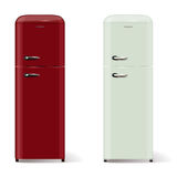 Two modern refrigerators in retro style Stock Photography