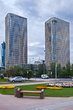 Two modern skyscrapers  in the Astana city, Kazakhstan Royalty Free Stock Photo