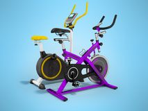 Two modern sport exercise bike yellow purple 3d render on blue b. Ackground Royalty Free Stock Photos