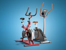 Two modern sport exercise bike yellow purple 3d render on blue b. Ackground Royalty Free Stock Images