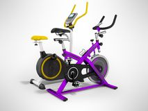 Two modern sport exercise bike yellow purple 3d render on gray b. Ackground Royalty Free Stock Photo