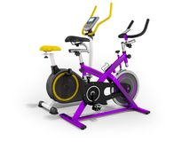 Two modern sport exercise bike yellow purple 3d render on white. Background Stock Photo