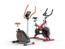 Two modern sport exercise bike yellow purple 3d render on white. Background Royalty Free Stock Photo