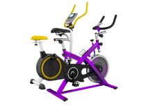 Two modern sport exercise bike yellow purple 3d render on white. Background no shadow Stock Photos