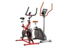 Two modern sport exercise bike yellow purple 3d render on white. Background no Stock Photo