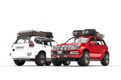 Two Modern SUVs - red and white Royalty Free Stock Photo