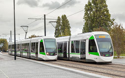 Two modern trams in Nantes Royalty Free Stock Photography