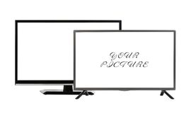 Two modern TV set isolated at white background Royalty Free Stock Photos