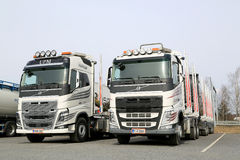 Two Modern Volvo FH Logging Trucks Royalty Free Stock Photography