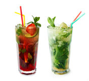 Two mohito cocktails on an isolated background Stock Images