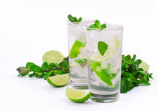 Two mojito cocktail with lime and mint Stock Image