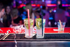 Two Mojito cocktails on a bar counter Stock Photography