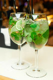 Two mojito cocktails on the bar. In the restaurant Royalty Free Stock Images