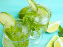 Two mojito cocktails Royalty Free Stock Photos