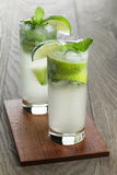 Two mojito cocktails on old oak table Stock Images