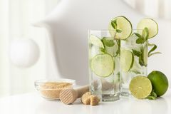 Two mojito cocktails Royalty Free Stock Image