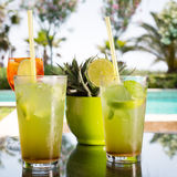 Two mojitoes with glass of Aperol Spritz at background Royalty Free Stock Photo
